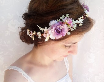 purple flower crown, purple hair accessories, purple headband, bridal flower hairpiece, wedding headpiece, flower girl crown, hair vine