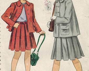 1940s Simplicity 2332 Vintage Sewing Pattern Girl's Pleated Skirt and Jacket Size 12