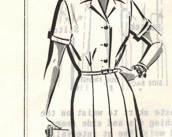 1950s Mail Order 8454 FF Vintage Sewing Pattern Misses Shirtwaist Dress Size 36 Bust 36