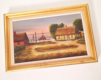 vintage oil painting - sea cottage - nautical wall decor