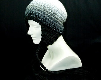 White to Black Fade Ombre  Ear Flap Hat