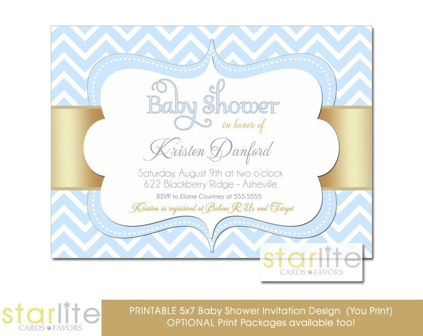 baby shower invitation blue gold blue white chevron baby boy