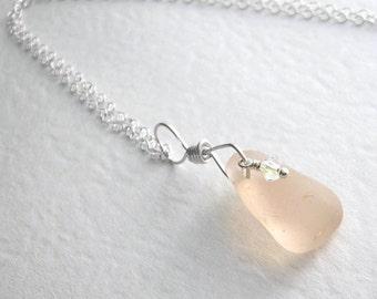 Rare Pink Sea Glass Necklace, Blush Pink Pendant, Natural Beach Jewelry