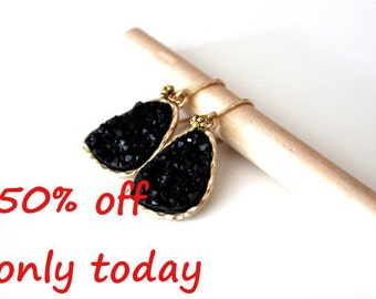 Druzy black earrings - rich color - with Gold Filled ear wires