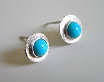 Turquoise Earrings. Mineral  Turquoise and Sterling Silver Earrings. Handmade turquoise earrings.