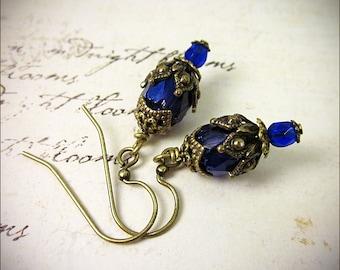 Dark Blue Earrings, Cobalt Blue Drop Earrings, Blue Bridesmaid, Bridesmaid Earrings, Tudor Costume, Victorian Earrings, Garb, Rhiannon
