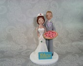 Custom Handmade Nurse & Pizza Delivery Groom Wedding Cake Topper