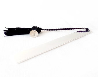Tassel Bookmark - Steel, Silk - Black, Silver - The Lifestyle: Braided Silk Tassel with Dove Charm Tag
