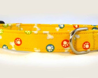 Dog Collar Yellow White Bones