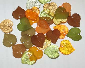 30 Acrylic Leaf Beads 15mm Autumn Mix