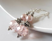Pink Dangle Earrings Pearl and Crystal Bridesmaid Jewelry Light Pink Vintage Style Wedding Sets in Antiqued Silver Beaded Bridal Jewellery