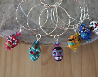 Wine Charms Sugar Skulls, 6 Wine Charms, Crystal, Color, Day of the Dead