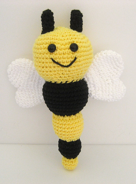 Free Baby Bunting Patterns To Crochet : Sale Crochet Bee Baby Rattle Bee Baby Toy newborn crochet