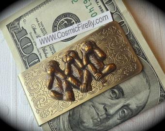 Brass Monkeys Money Clip Steampunk Money Clip Gothic Victorian Vintage Inspired Antiqued Brass Money Clip Men's Accessories Men's Gifts