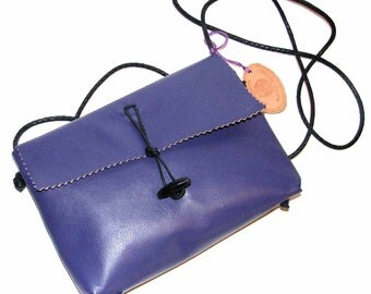 Purple Lambskin Mama Hippo Cross Body Handbag Handmade