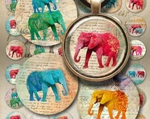 1 inch (25mm) Circles ELEPHANTS Digital Collage Sheet Printable Download for glass or resin pendants magnets round bezel trays bottle caps