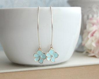 Blue Enamel Flower Dangle Earrings. Marquise, Long Dangle Earrings. Bridesmaids Gift. For Sister. Rustic Blue Wedding. Something Blue. BFF