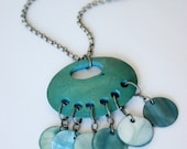 Abalone Shell Necklace - Recycled Jewelry with Blue Circles