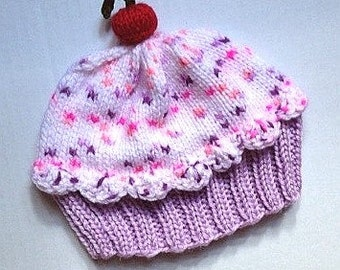 Cupcake Hat Lavender Purple Cake Cotton Candy Pink Sprinkle Frosting hand knit child teen adult toddler baby infant 6 8 12 18 months preemie