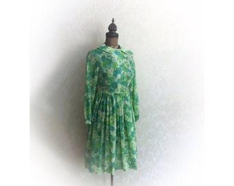 Vintage 1960s Dress Green Sheer Floral Print
