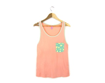 SAMPLE SALE Cotton Candy Tank - Oversized Slouchy Scoop Neck Women's Pocket Tank in Peach and Mint - Free Size Q