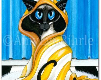 Siamese Cat Bath Decor - Art Prints by Bihrle ck428