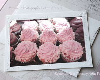 Pink Cupcakes Note Card, Shabby Chic Cottage Pink Cupcakes Note Card, Dreamy Cupcakes, Food Photography, Cottage Pink Cupcakes Fine Art Card