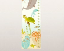 GROWTH CHART - Ocean Friends - nursery art for children