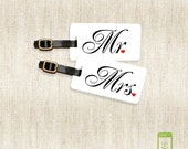 Personalized Luggage Tags Mr and Mrs Metal Luggage Tag Set Personalized with Address Message or Quote Printed Metal Tags