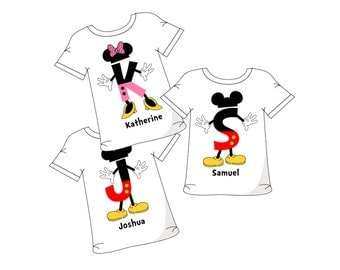 Mickey Mouse Letters with personalized name Digital file