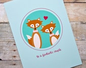 Fantastic Couple Fox Gay/Same-Sex Wedding, Engagement, Anniversary Card