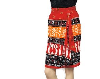 Vintage Skirt 1980's Tribal Print Wrap Skirt Gauzy Fall Bohemian Straight Skirt Black Red Orange Ethnic Size 8