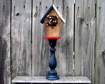Birdhouse, Pedestal, Decorative, Americana, Bird House, Indoor, Red, White, Blue, Stars, Stripes, Rustic, Painted Wood, Distressed, Stained
