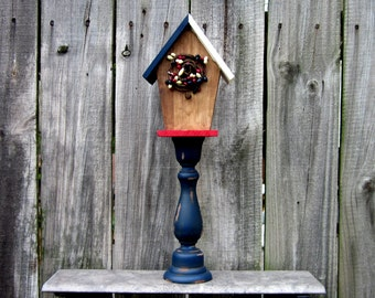 Birdhouse, Pedestal, Decorative, Americana, Bird House, Indoor, Red, White, Blue, Rustic Home Decor, Painted Wood, Distressed, Stained
