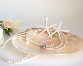 Beach Wedding Ring Bearer Shell with Double Starfish - Choose Plain Starfish or Starfish with Pearls or Swarovski Crystals