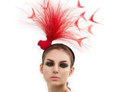 Red Bird Fascinator, Red headpiece, couture hat, Melbourne cup fascinators, Red Hat, Derby hat