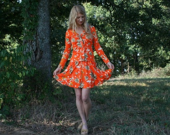 Vintage 70s Halter Dress With Matching Jacket S - Flamingo Print - Flippy Skirt