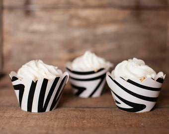 12 Cupcake Wrappers - Zebra Cupcake Wrappers - Zebra Cupcake Decorations - Great for Birthday Parties, Baby Showers & Bridal Showers