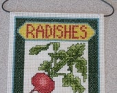 Completed Finished Cross Stitch Wall Hanging Radish Seed Packet
