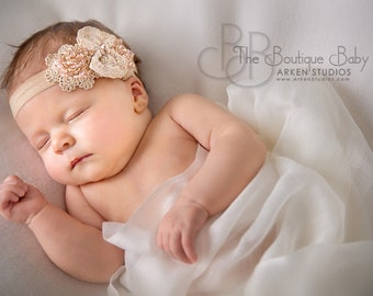 Blush Pink and Gold Hair Bow, Luxe Champagne Lace Bow Pink Beaded Gold Headband or Hair Clip, Flower Girl, Newborn Baby Toddler Child Girl