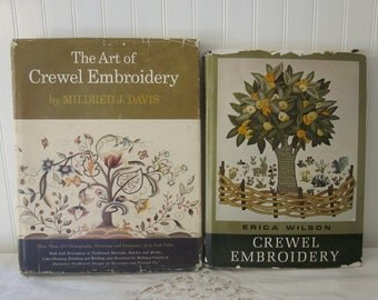 2 vintage Crewel Embroidery books, Erica Wilson (signed) and Mildred Davis, copyright 1962 HC DJ DIY Needlework books. Home decor projects.