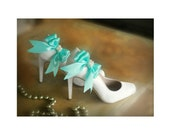 Shoe Clips Aqua Blue / White Bow. Pearls or Rhinestone Satin Ribbon. Bridal Fashionista Couture, More Teal Sage Pink Black Ivory Purple Navy