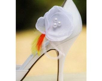 White or Ivory Organza Shoe Clips Embellishment. Bride Bridesmaid Maid Honor. Feminine Elegant Handmade, Preppy Stylish, Happy Shabby Chic