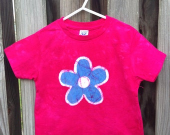 Flower Girls Shirt, Pink Girls Shirt, Girls Flower Shirt, Pink Flower Shirt, Short Sleeve Girls Shirt, Kids Flower Shirt, Batik Shirt (3T)