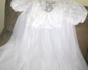 RARE Vintage ~1950's VANITY FAIR~Virgin White Peignoir Negligee Nightgown Set..Double Layered..Lingerie Robe & Gown  Dress..