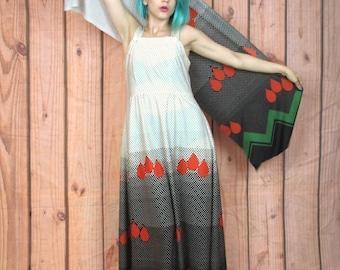 50% OFF SALE 70s Graphic Pop Art Maxi Dress Ombre Polka Dot Print Rain Drops Sleeveless Dress with Matching Set Scarf Sash (S)