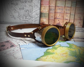 Steampunk Goggles Brass, Silver & Brown Leather - The Pilot , Dieselpunk, Adventurer, Time Traveller, Explorer, Airship, Kraken, Burning Man