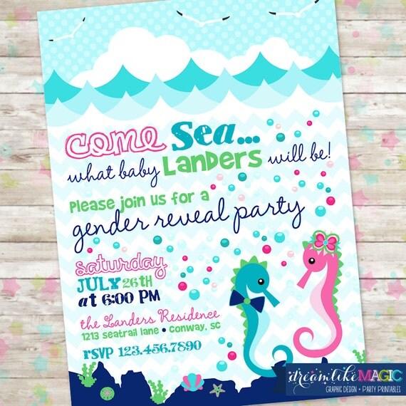 Gender Reveal Invite Summer Gender Reveal Baby Shower