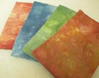 Quilter Gift - Hand-Dyed Fabric - Quarter Yard Cuts - Rust Green Blue Orange - QP121313