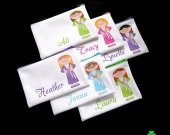 Spa party favors, Spa girl birthday, personalized zipper pouch, cosmetic bags, spa birthday slumber party favours party favors for girls